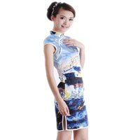 Wholesale Details about Vintage Landscape Chinese Women Cheongsam Qipao Slim Mini Dress