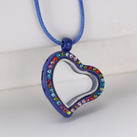Cheap Mixed Multicolor Lockets Heart Shape Crystal Floating Charm Glass Living Memory Locket Pendant 25mm Extra Charms Necklace For Gift