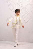 Wholesale Embroidered Tuxedos Attractive Kid Complete Designer Stand Collar Boy Wedding Suit Boys Attire Custom made Jacket Pants Tie