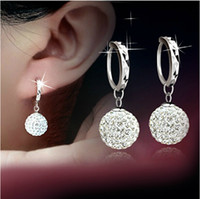 ball earrings clips - Hot sell new arrival super shiny zircon inlay ball sterling silver ladies clip earrings jewelry
