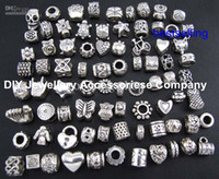 Wholesale 100pcs beads charms Mix Style Big Hole Loose Beads charm For Pandora DIY Jewelry Bracelet For European