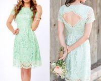 green wedding dress - Simple Green Wedding Dresses Bateau Short Sleeve Bridesmaid Dresses Bridesmaid Dress Knee Length Backless Lace Zipper