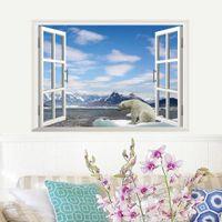 bear window film - White Snow Glacier Mountain Beach Polar Bear D Window Beautiful Film wall Decal Wallpaper View Wall Stickersecals Kids Decor