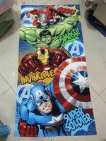 america bath - 2015 The Avengers Towel Iron Man cotton towels bathroom children Hulk beach towel kids Captain America bath towel