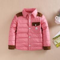 Wholesale Korean Button Down - 2015 Winter Hot Sale Children Down Coats Colour-matching Elegant Pockets Kids Costumes Korean Style Fashion Buttons Boys Outwears CR425