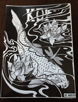 Wholesale Japanese Tattoo Flash Designs Book by Horimouja Jack Mosher A4 Vol the carp fish Design Sketch Flash Tattoo Book