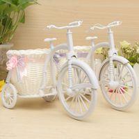 bamboo bike basket - Hot Sale Rattan Tricycle Bike Flower Basket Vase Storage Garden Wedding Party Decoration Office Bedroom Holding Candy Gift order lt no track