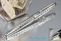 Wholesale PURE PEARL MB High Quality Best Design Silver Checkered and Clip Roller Ball Pen