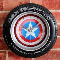 bell tire - Modern Fashion Creative cm Captain America original design of the tire wall clock alarm clock Desk clock bell stereo Shield