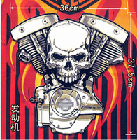 Wholesale 14 inches Embroidery twill Biker Patches Skull V dual cylinder engine for Jacket Back Motorcycle Club MC Surport