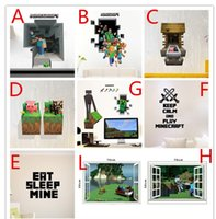 Wholesale MINECRAFT steve dinging Wall Sticker Removable Vinyl Art Decal Kids home decor cartoon wall mural