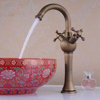 antique vegetable - New Classic Double Single Hole Kitchen Faucet Rotating Copper Antique Pots Vegetables Water Tap Sink Faucets HJ F
