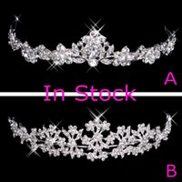 fashion rhinestone crown - In Stock Rhinestone Crystal Wedding Party Prom Homecoming Crowns Band Princess Bridal Tiaras Hair Accessories Fashion