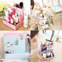 Cheap Free Shipping DIY Folding Paper Board Desk Makeup Cosmetic Organizer Storage Box Stationery FZ1377