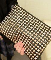 2,015 Nouveau Femmes PU cuir Cluth Parti Femmes sacs à main noir Rivet Punk Day Embrayages Femmes Sacs, Cheap Sale!