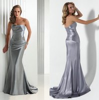 Wholesale 2015 Silver Satin Mermaid Prom Dresses With Open Back Beaded Ruffle Floor Length Backless Evening Dresses Formal Special Occasion Dresses