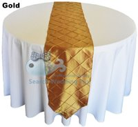 Wholesale Cheap Price Gold Color Pintuck Taffeta Table Runner For Wedding Banquet Table Cloth Runner