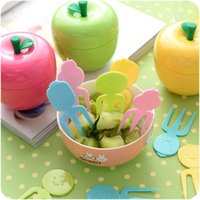 Wholesale Reusable lovely fruit fork set children s fruit vork plastic base with picks snack fork kitchen utensils