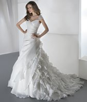 Cheap 2015 Lace Wedding Dresses Demetrios Sweetheart Sheer Straps Backless Crystal Beaded Ruffles Chapel Train Chiffon Bridal Gowns