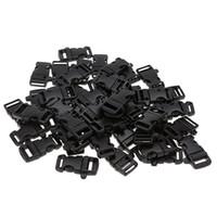 Wholesale 50pcs Durable Plastic Outdoor Camping Survival Quick Release Whistle Buckles for Paracord Bracelets Travel Kits Size S