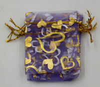 Wholesale Hot Sell Jewelry Packing Purple Heart Organza Pouch Wedding Favor Gift Bags x9cm x12cm x18cm