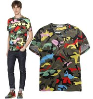Cheap 2015 new summer style Tide brand new youth lovers men outdoor tide green camouflage short-sleeved T-shirt