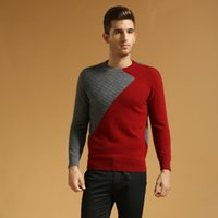 mink cashmere - O Neck Patchwork Twisting Style Mink Cashmere Sweater Pullover For Men Winter Sweater Cashmere Pullover Casual Cashmere Knitwear L112