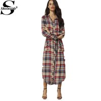 belt clothing store - Sheinside New Arrival Retro Online Clothes Store Women Dresses Plaid Belted Pockets Buttons Side Slit Shirt Dress