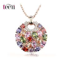 big green stones - Teemi Hot Sale K Rose Gold Plated Multicolor Top Quality Cubic Zircon Paved Stone Big Round Women Pendant Necklace Party Jewelry