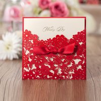 elegant wedding invitations - 2015 Personalized Printable Elegant Wedding Invitations Cards Red Laser Cut Floral with Ribbon cm CW5086 WISHMADE Party Cards