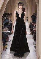 Cheap 2015 Valentino Sping Summer Black Evening Dresses A Line Deep V Neck Backless Velvet Prom Gowns