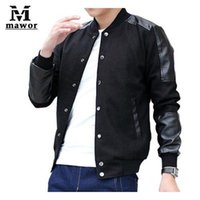 100% leather jackets - Big Size XL XL Men Leather Patchwork Casual Men Jacket Varsity Jaqueta college baseball jackets Spring And Autumn Coats