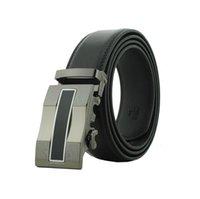 Wholesale A man s belt leather ratchet belt automatic belt buckle black