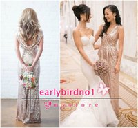 gold bridesmaid dresses - 2015 Sparkly Sequins Gold Bridesmaid Dresses Sexy V Neck Ruffle Floor Length Backless Shiny Wedding Party Prom Gowns Custom Made