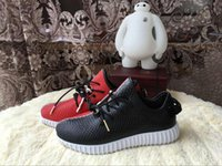 Cheap 2016 Original Kanye West Yeezy 350 Boost Leather Black Varsity Red Men's Sports Running Shoes Factory Price High Quality Size 7---12