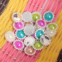 Wholesale 10 Flat Back Round Button Rhinestone Peal Buttons For Hair Flower Wedding Invitation Scrapbooking Ring