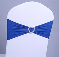 Wholesale Navy Blue Lycra Chair Bands Sash with Oval buckle Double Layer Lycra Bands Sash for Weddings Events Decoration