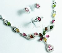 Wholesale Tourmaline set Natural real tourmaline sterling silver plated k white gold Perfect jewelry Gemstone set DH