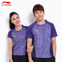 Wholesale NEW LI NING Badminton World Championships CHINA Team Sport Shirts Quick Dry Lining Men badminton Shirt