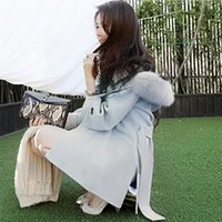 belted cape - Brand Designer New Winter Women Wool Coat With Hood Medium Long Large Fur Collar Poncho Cape Coats With Belt G1971