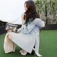 belted cape coat - Brand Designer New Winter Women Wool Coat With Hood Medium Long Large Fur Collar Poncho Cape Coats With Belt G1971