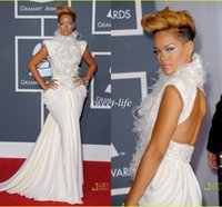 Wholesale Sexy Rihanna on Grammy Red Carpet Celebrity Dresses Mermaid Backless High Neck Feather Sequins Cap Sleeves Evening Gowns Prom Dresses