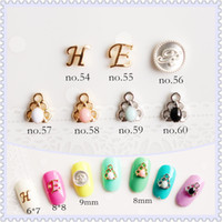Wholesale Silver Nail Letter Art - 7 Styles Gold Silver Colors Mpetit Letters Coin Feather & Leaf Nail Art Nail Tips Dangle Jewelry 3D Nail Art Decoration