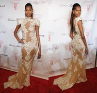 new york dresses - michael costello dresses sexy Fashion model Jessica White attends Angel Ball in New York Sheer Lace Formal Evening Dresses Prom Party Gowns