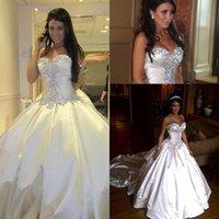 2016 Marfim Glamorous vestidos de casamento Bola Vestidos Querida com AB Pedras grânulos e Cristal Ruched Capela Trem tafetá vestidos de noiva BO9568