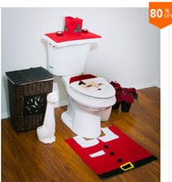 Cheap Three-piece Set Christmas Decorations Happy Santa Toilet Seat Cover And Rug Set Bathroom Innovative Item Free Shipping