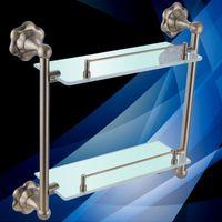 Wholesale Cody bathroom imitation Gula Si bathroom Double Glass Shelf Bathroom Accessories I514
