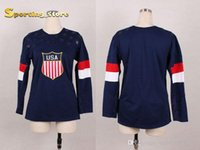 Wholesale 2014 American Olympic Blank Hockey Jersey for Women Well Stitched Logos High Quality Hockey Apparel Ladys New Style Hockey Wears for Sale