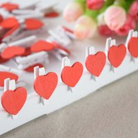 Wholesale Big discount Mini Wooden Clothes Peg with Red Heart Mini Heart shape wooden clip for Wedding Favors In stock