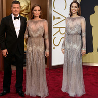 academy award oscars - Oscars Long Sleeves Evening Dresses Red Carpet Angelina Jolie Academy Awards Crystals See Through Full Beading Celebrity Prom Gowns